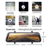 "Dash Cam 1080P Mirror 2019 new 10"" Full HD Touch Streaming Dual lens RearView Night Vision For car Dvr Camera factory dashcam"