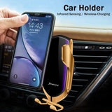 Car Wireless Charger Infrared Sensor Auto Clamp Holder 10W Fast Charging Mobile Phone Support Wireless Inductive Car Charger