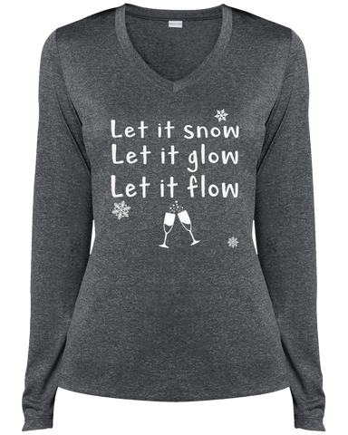 Let It Snow Long Sleeve V Neck Tee