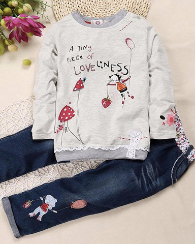 A Tiny Piece Of Loveliness Girls Sweater & Jeans Set