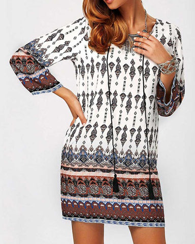 Long Sleeve Mini Ethnic Dress