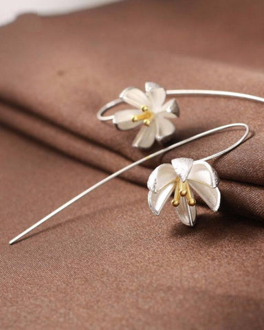 Sterling Silver Water Lily Earrings