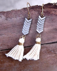 Ethnic Natural Stone Tassel Earrings