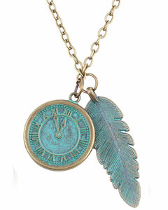 Antique style feather and clock pendant necklace