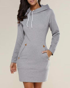 Hooded Mini Dress With Pockets - 4 Colors