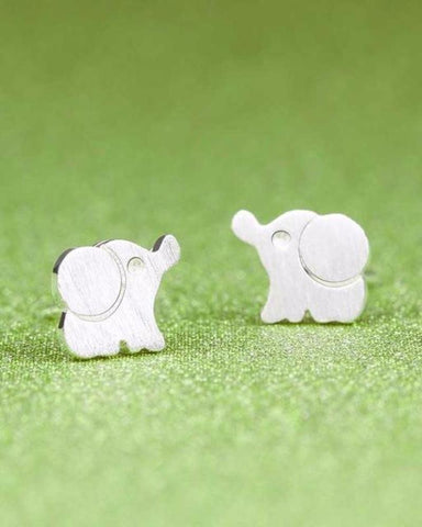 Super Cute Silver Elephant Stud Earrings