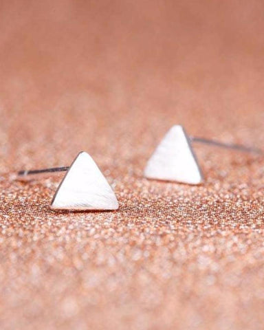Stunning Silver Triangle Stud Earrings
