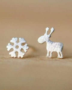 Silver Reindeer and Snowflake Stud Earrings