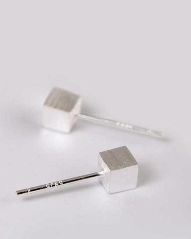 Silver Plated Cubed Simplicity Earrings