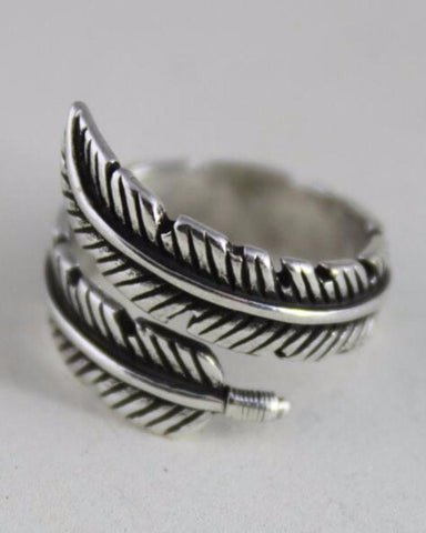 Vintage Silver Adjustable Open Feather Ring