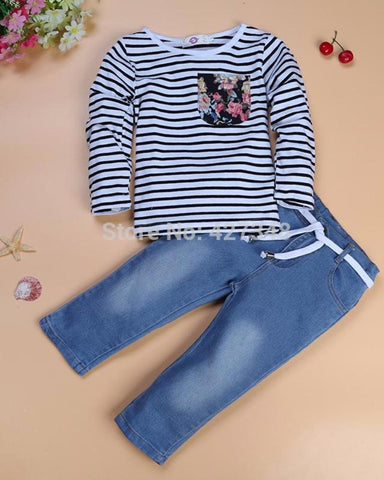 Floral Sailor Girls Pullover And Jeans Set
