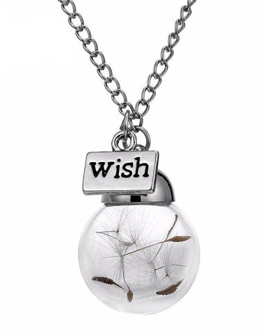 Make A Wish Dandelion In Glass Bottle Necklace