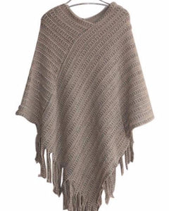 Super Soft Asymmetrical Tasseled Poncho