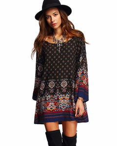 Long Bell Sleeve Bohemian Shift Dress