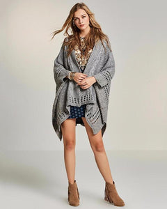 Loose Cardigan Cape With Lovely Knit Detail