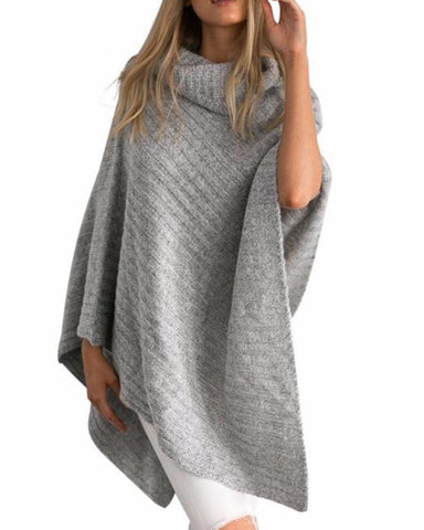 Asymmetrical Turtleneck Poncho In Winter Grey or Golden Sand