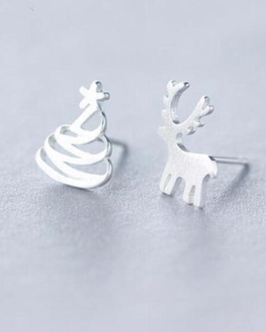 Christmas Tree and Reindeer Stud Earrings