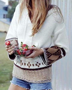 Bohemian Inspired Hooded Pullover In White Or Mocha