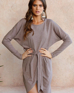 Long Sleeve Empire Dress With Matching Belt