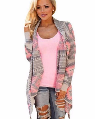 Geometric Cardigan With Turn Down Collar And Cascading Front