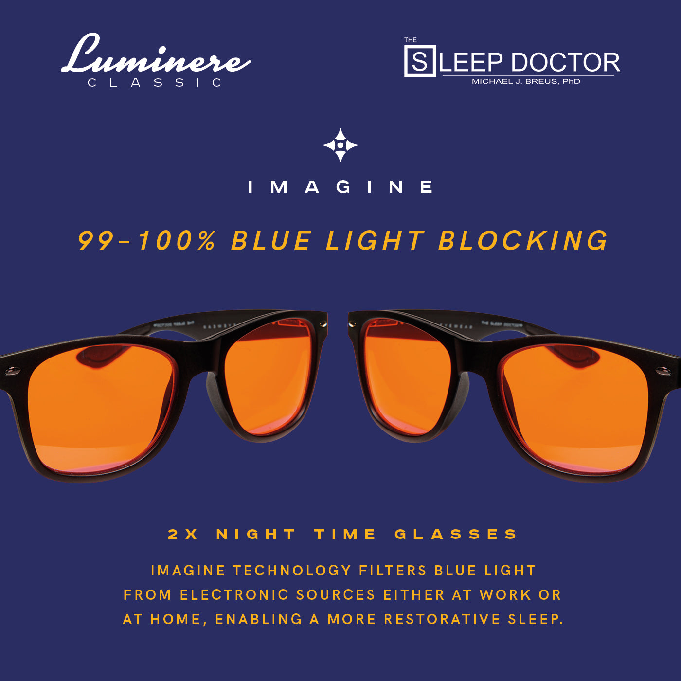 LUMINERE BLUE LIGHT BLOCKING GLASSES - DR MICHAEL BREUS