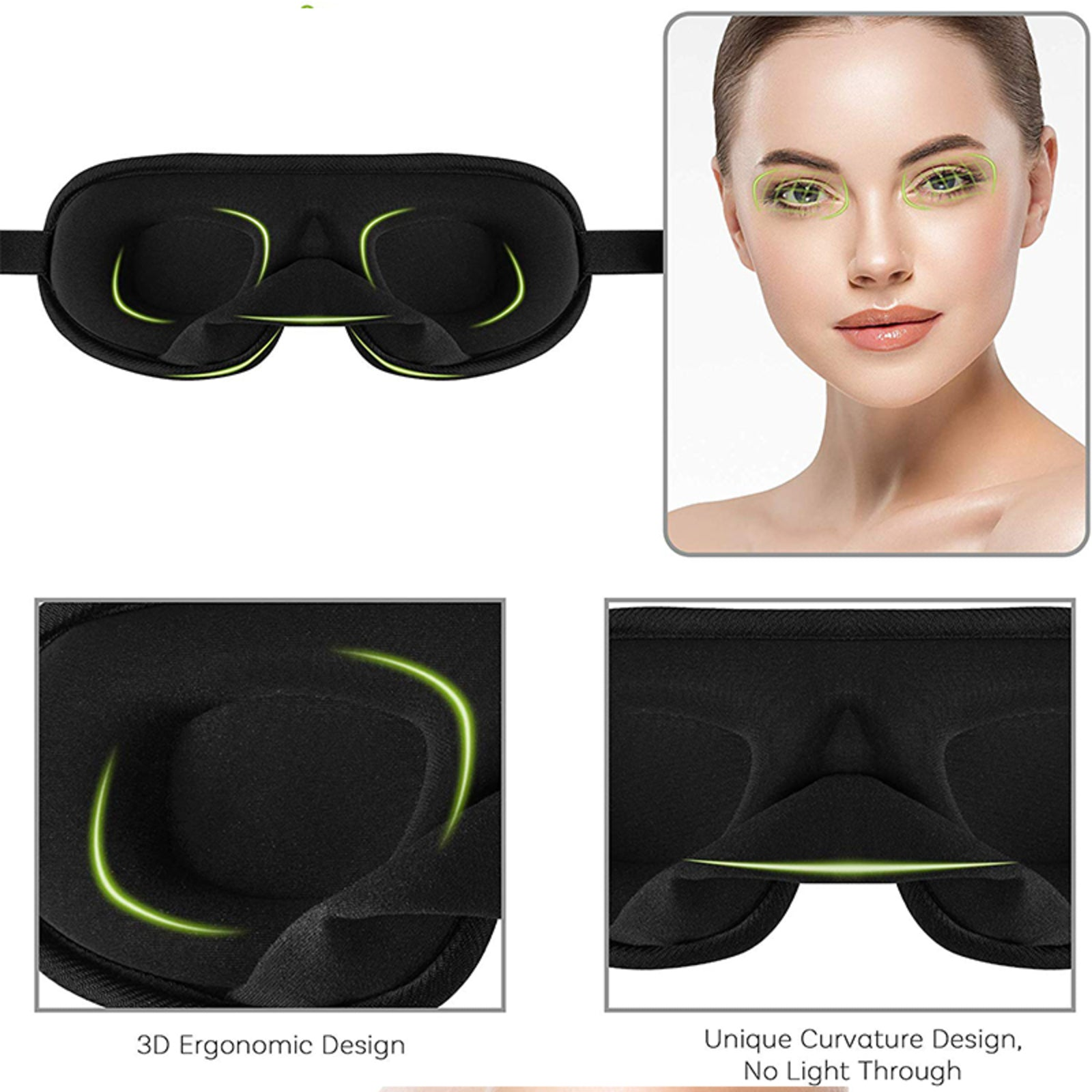 D&A HEALTH - 3D SLEEP EYE MASK WITH BREATHABLE MESH