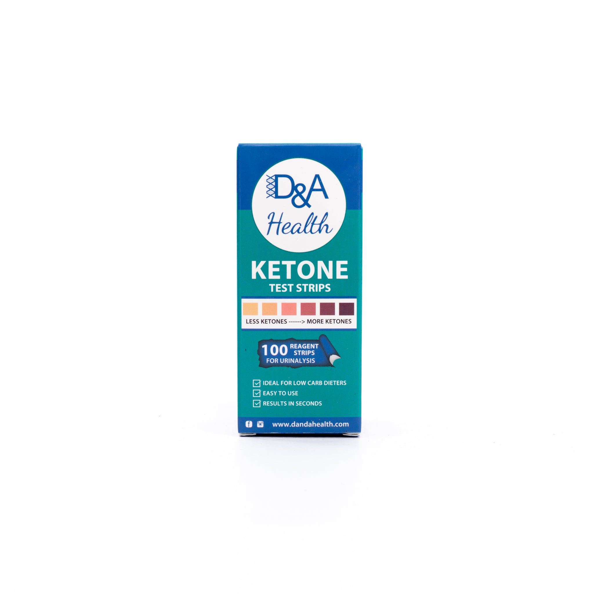 D&A HEALTH - KETONE URINE TEST STRIPS (100)