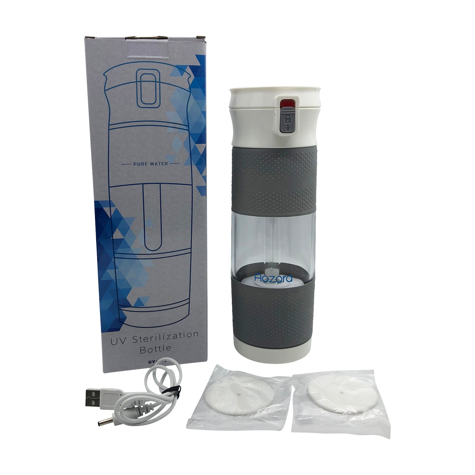 Aozora Portable Direct Drinking UV+Ozone Sterilisation 450ml Water Filter Bottle - USB Charge