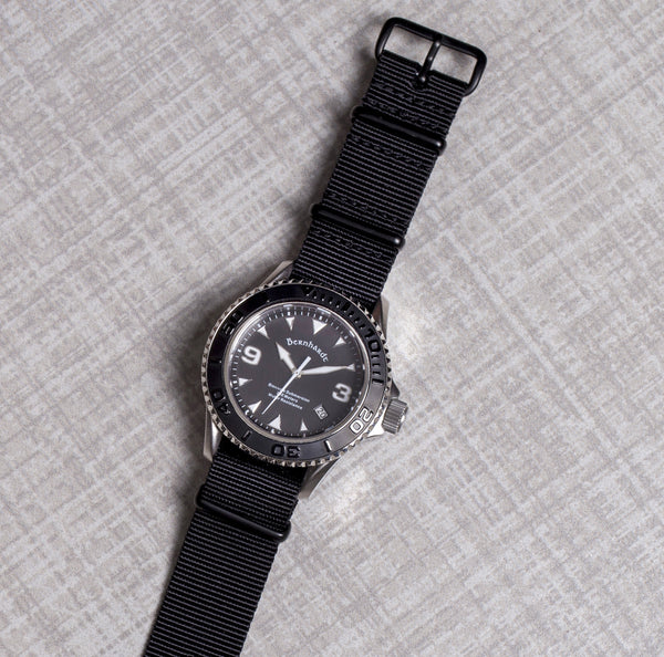 solid black nato strap with black buckle
