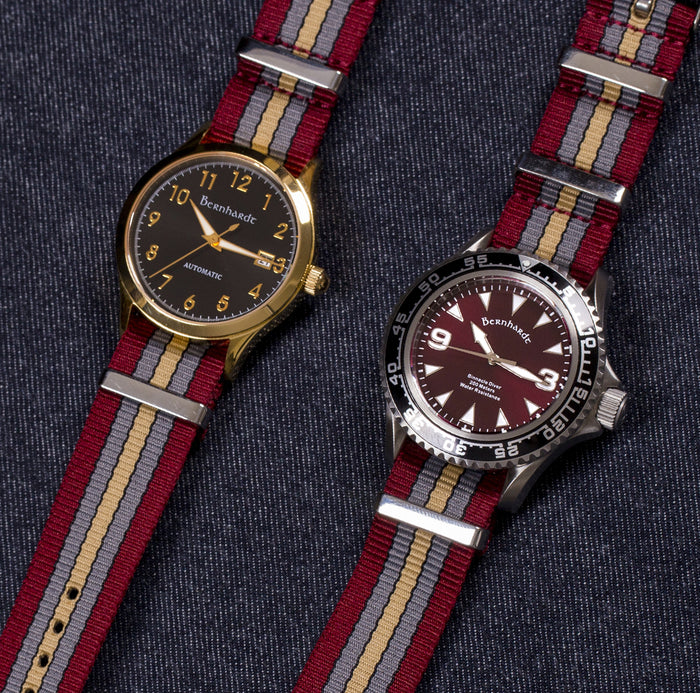 retro burgundy striped nato strap