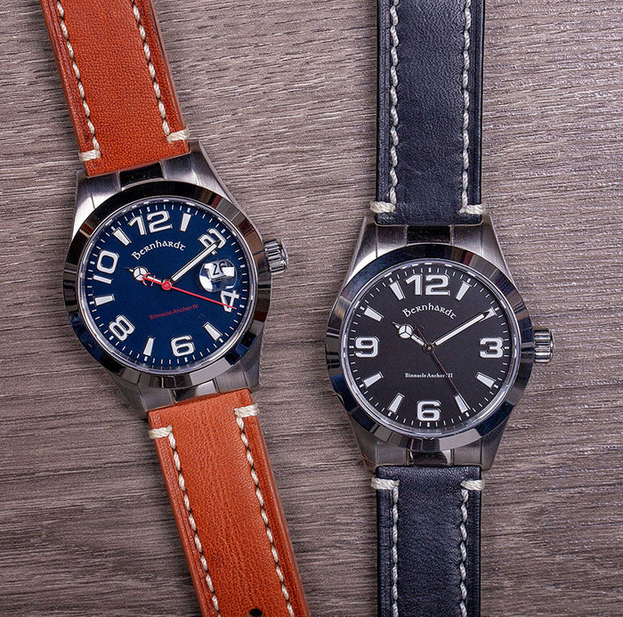 contrast stitch black leather strap