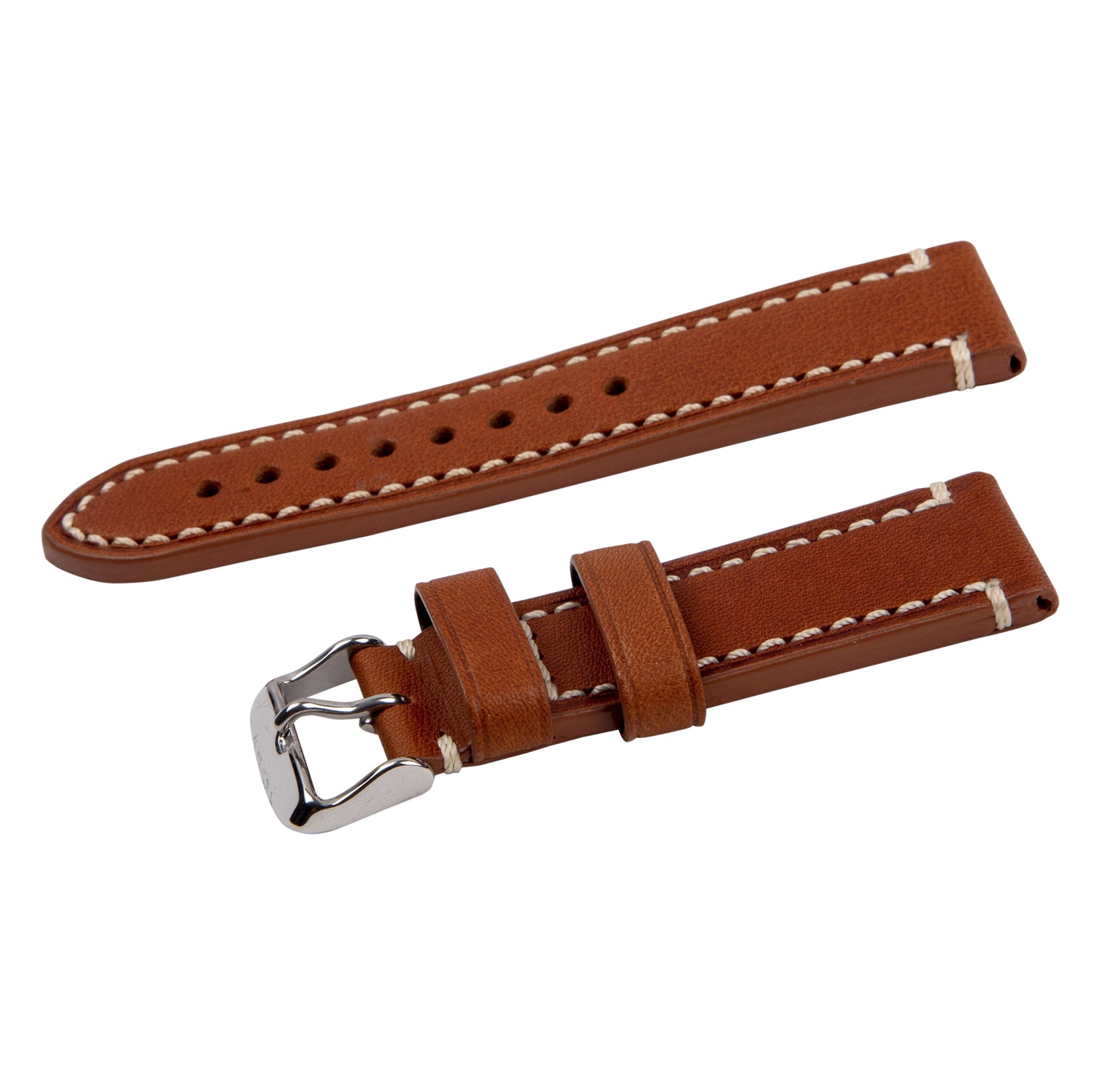 contrast stitch tan leather strap