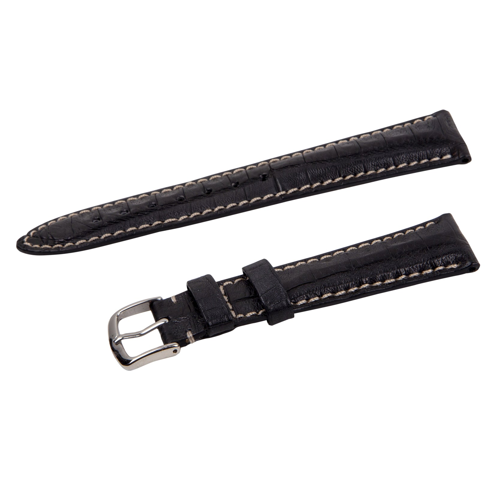 contrast stitch black crocodile strap