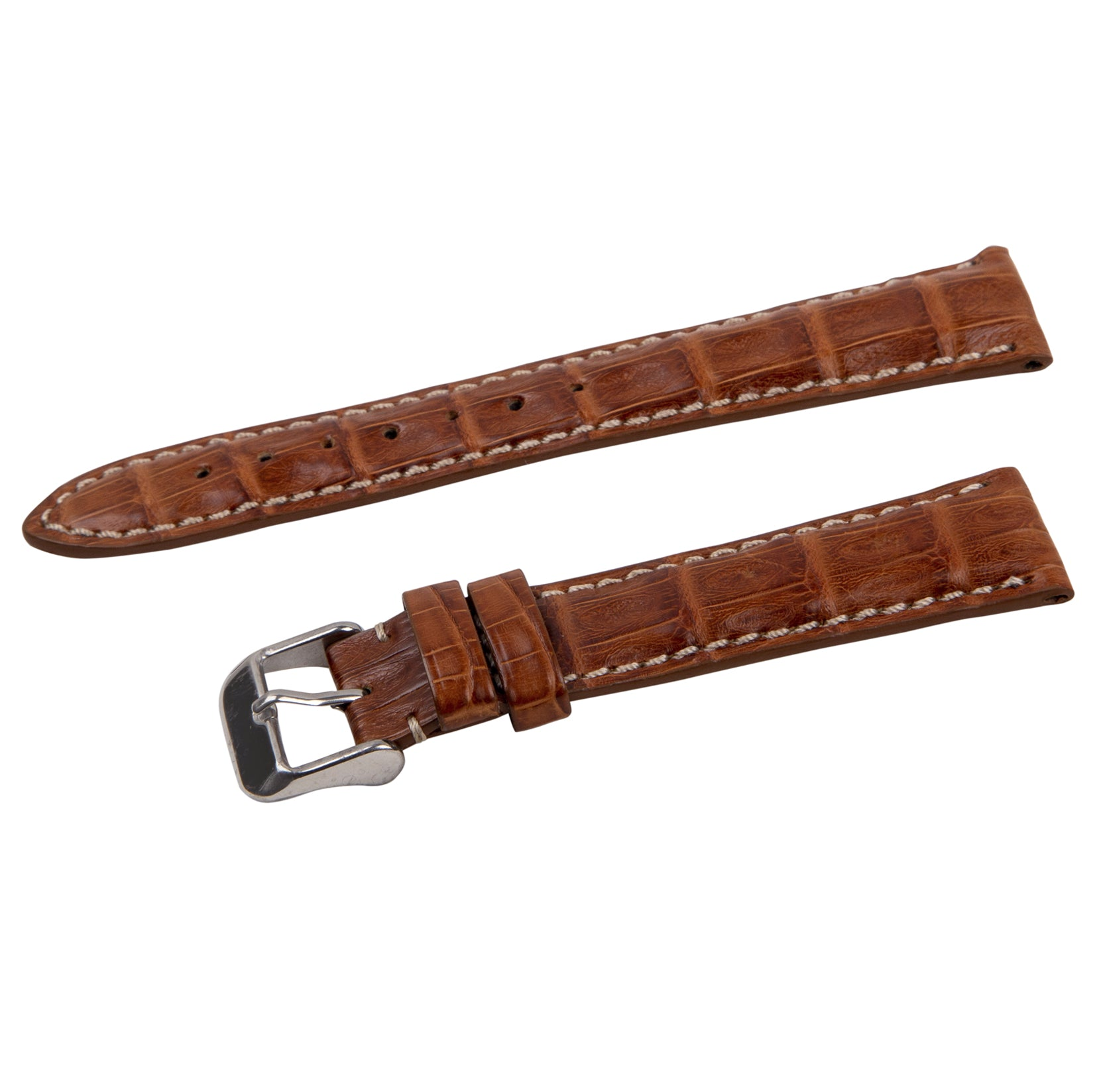 contrast stitch tan crocodile strap