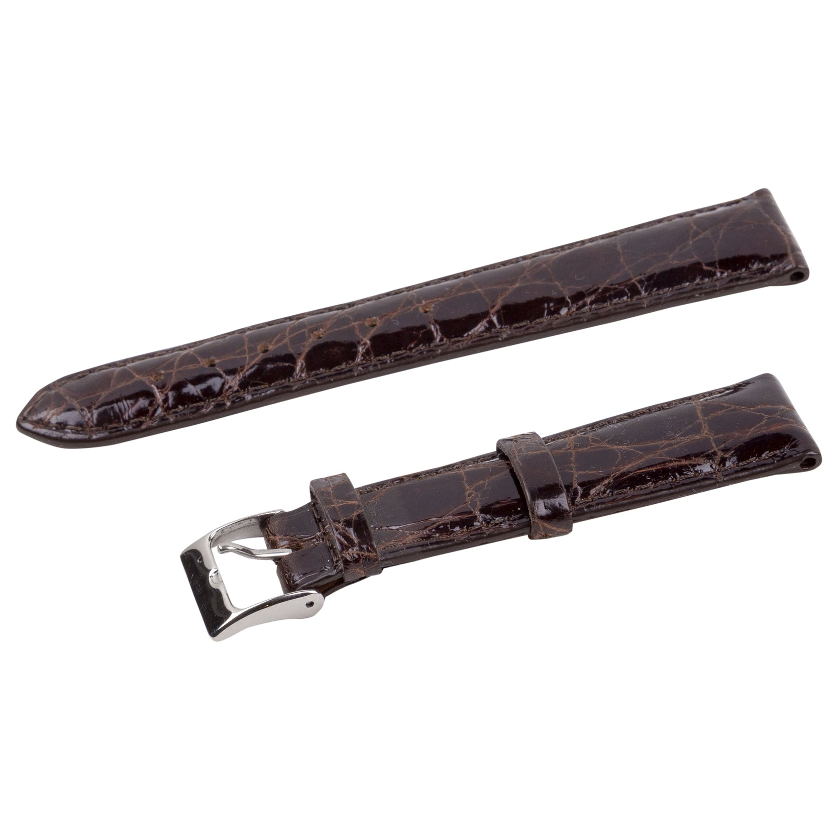 brown polished crocodile strap with silver buckle