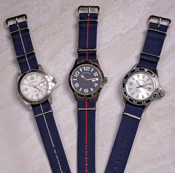 navy nato strap with silver buckle