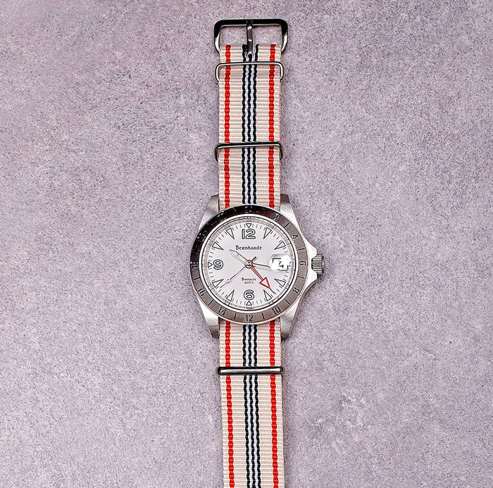 red/black/white striped nato strap