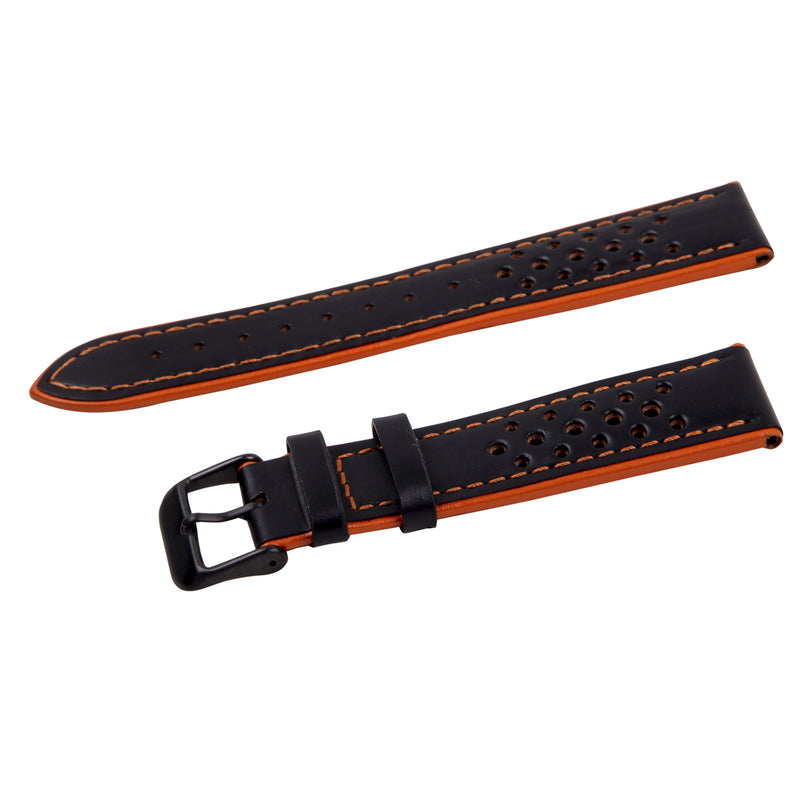 black/orange perforated leather rally strap