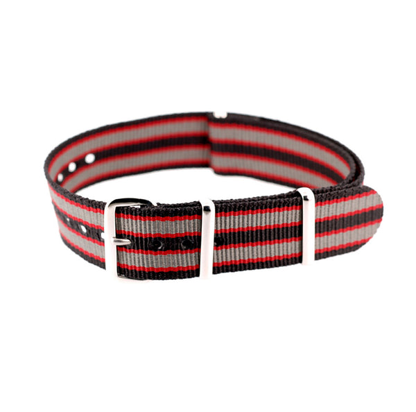 black/red/grey bond nato strap
