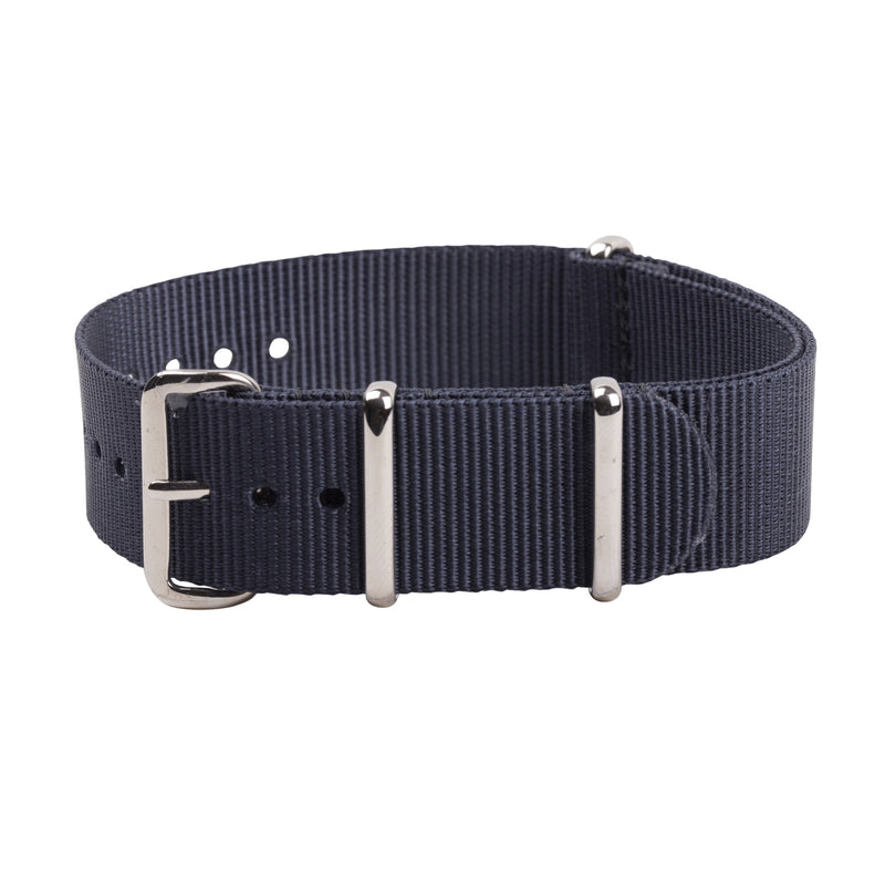 dark grey nato strap with silver buckle