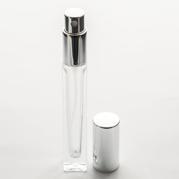 1/3 oz (10ml) Deluxe Square Clear Glass Bottle - Fine Mist Spray Pump