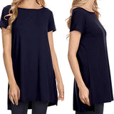 Black Short Sleeve Relaxed Tunic Top