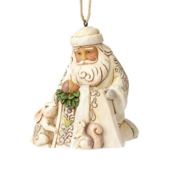 Jim Shore Santa Worshiping Baby Jesus White Woodland Ornament