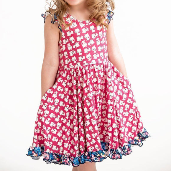 Pink Kitten Cat Twirly Dress