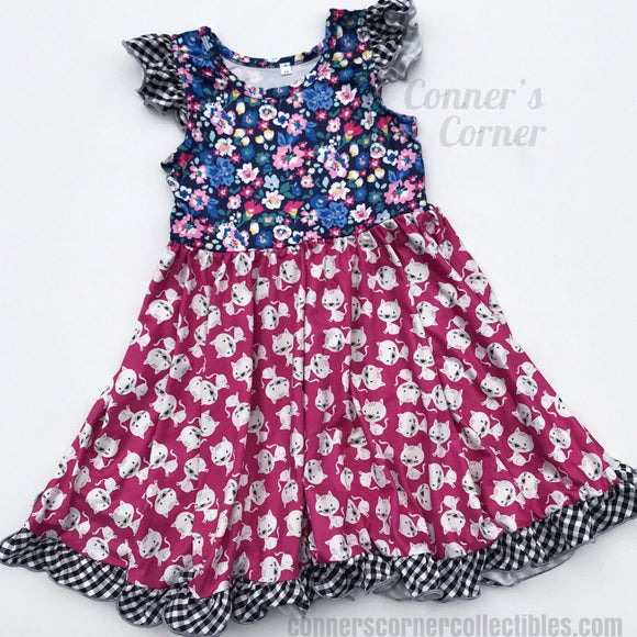 Floral kittens twirly dress for girls