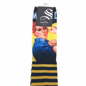 Women's Crew Rosie the Riveter Socks with Striped Soles