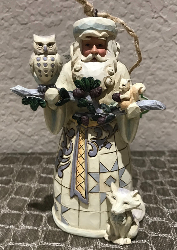 Jim Shore White Woodland Santa Ornament