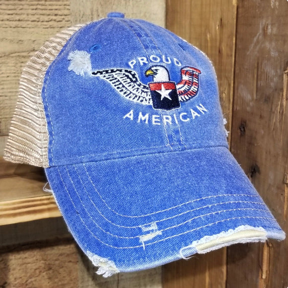 Proud American Distressed Truckers Cap