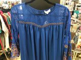 Blue Embroidered Sleeve Tunic/Dress
