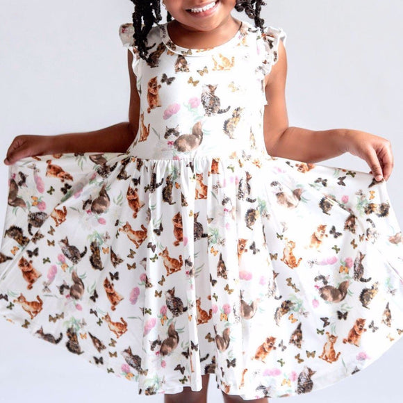 Girl's Cats and Butterflies Twirly Dress